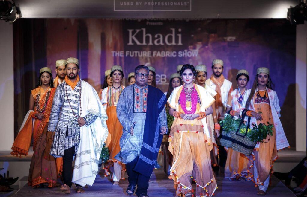 Emdad Hoque in shawl, Khadi, The Future Fabric Show, Bangladesh, 2016